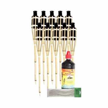10x bamboe fakkel met lont 60 cm en olie 1 l pakket