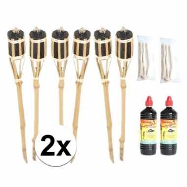 12x tuinfakkel inclusief lont en olie