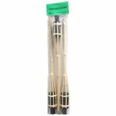 9x stuks bamboe tuinfakkels met oliehouder van 60 cm