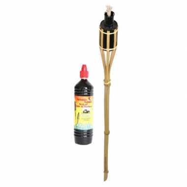 Bamboe tuinfakkel 88 cm inclusief fakkelolie 1 liter
