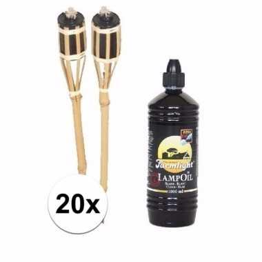 Bamboe tuinfakkels set 20 stuks 61 cm met fakkelolie 1 l