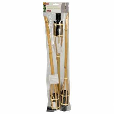 Tuinfakkel 3x stuks 60 cm van bamboe
